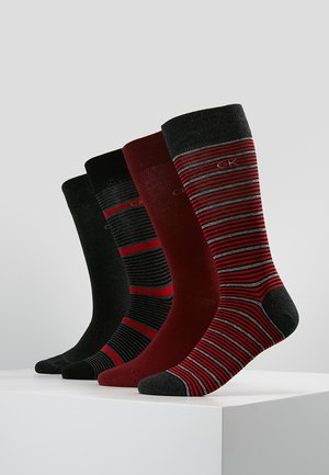4 PACK - Socks - dark red/black/bordeaux