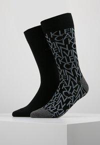 Calvin Klein Underwear - ALL OVER LOGO CREW 2 PACK - Calze - black - 0
