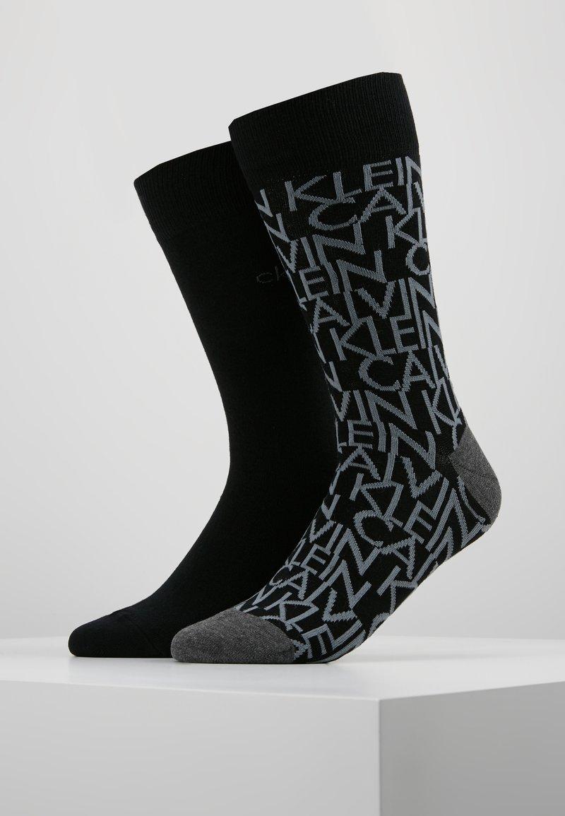 Calvin Klein Underwear - ALL OVER LOGO CREW 2 PACK - Calze - black