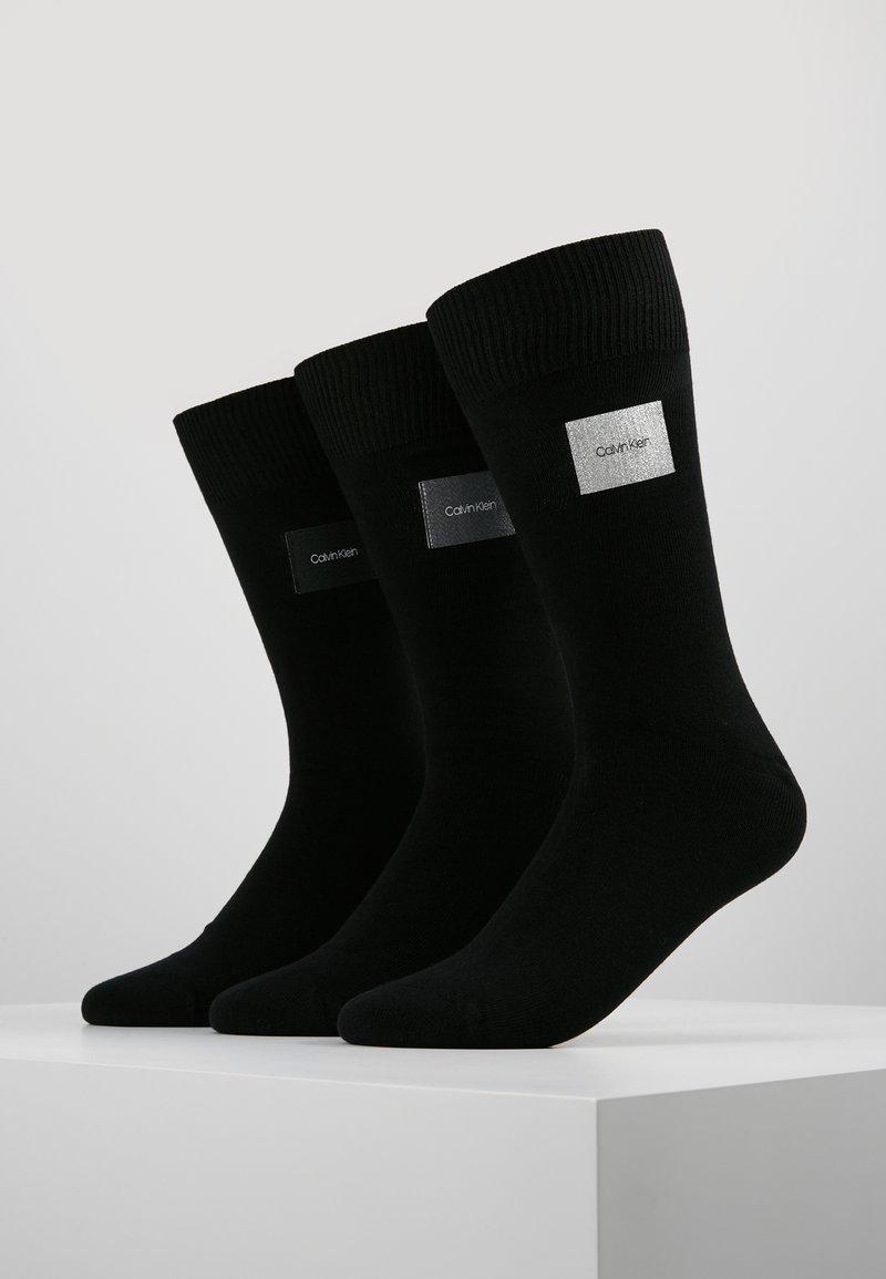 Calvin Klein Underwear - GIFTBOX PATCH CREW 3 PACK  - Socks - black