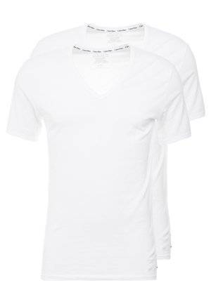 V NECK T SLIM FIT 2PACK - Caraco - white