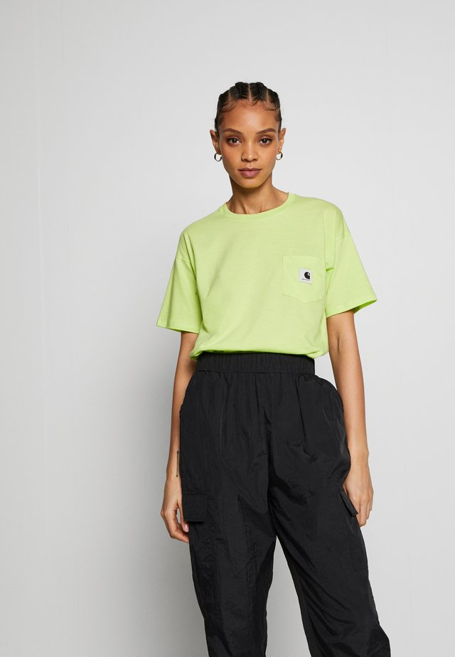 CARRIE POCKET - T-shirt basic - lime/ black