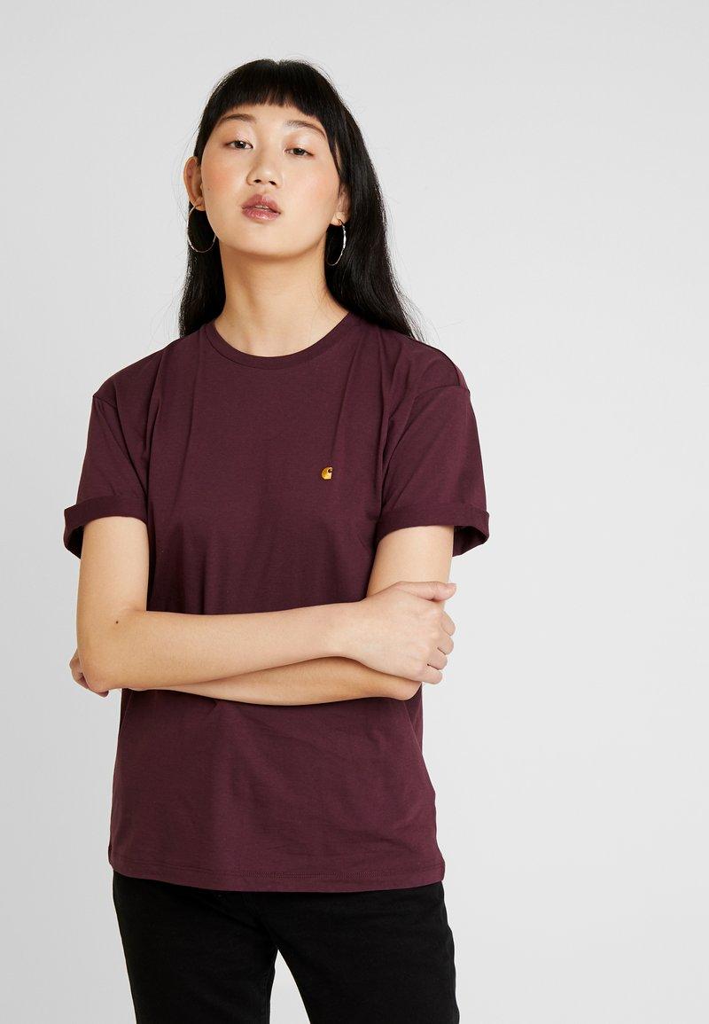 Carhartt WIP - CHASY - T-shirt basic - merlot/gold
