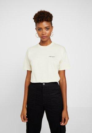 SCRIPT EMBROIDERY - T-shirts print - flour / black