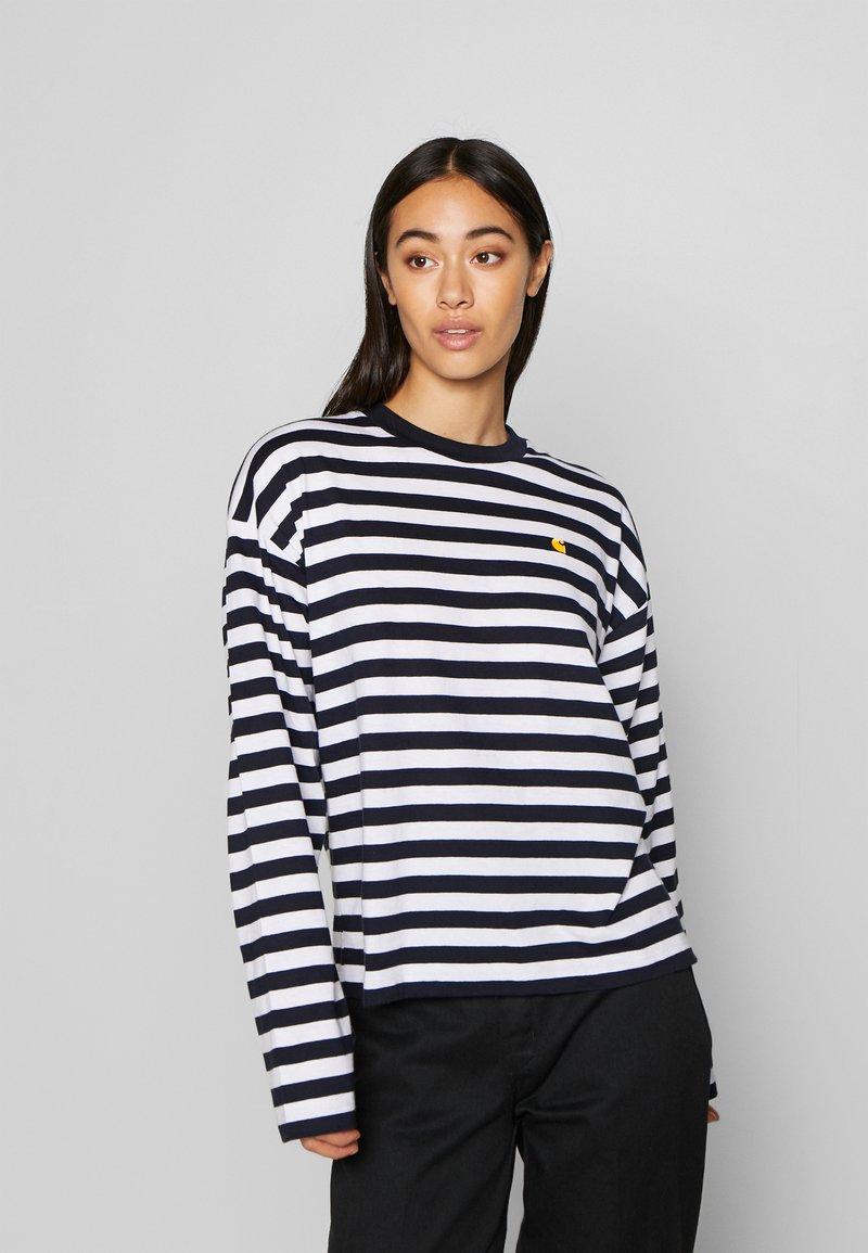 Carhartt WIP - SCOTTY - Long sleeved top - dark navy/white