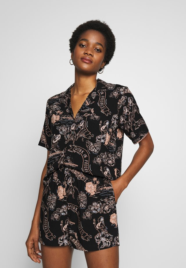 ARUBA  - Button-down blouse - black / powdery