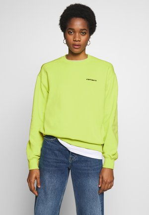 SCRIPT EMBROIDERY  - Mikina - lime/ black