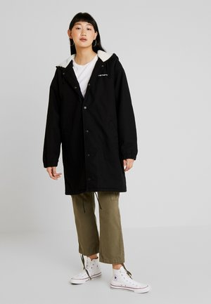 HOODED SCRIPT COACH JACKET - Parka - black/white stone