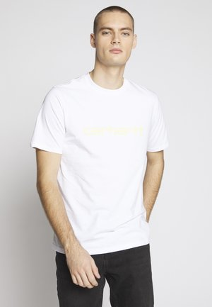 SCRIPT - T-shirt imprimé - white/lime