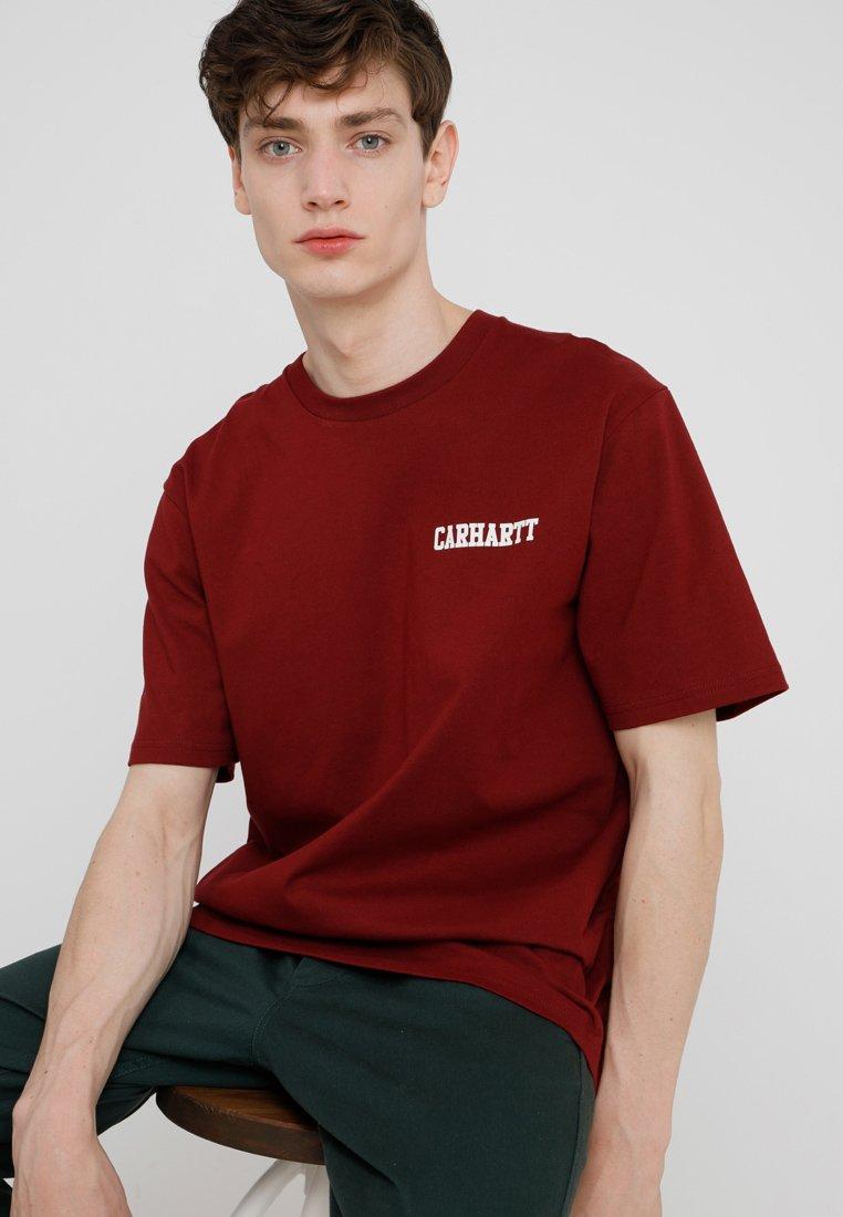 Carhartt WIP - COLLEGE SCRIPT - T-shirt basic - mulberry/white