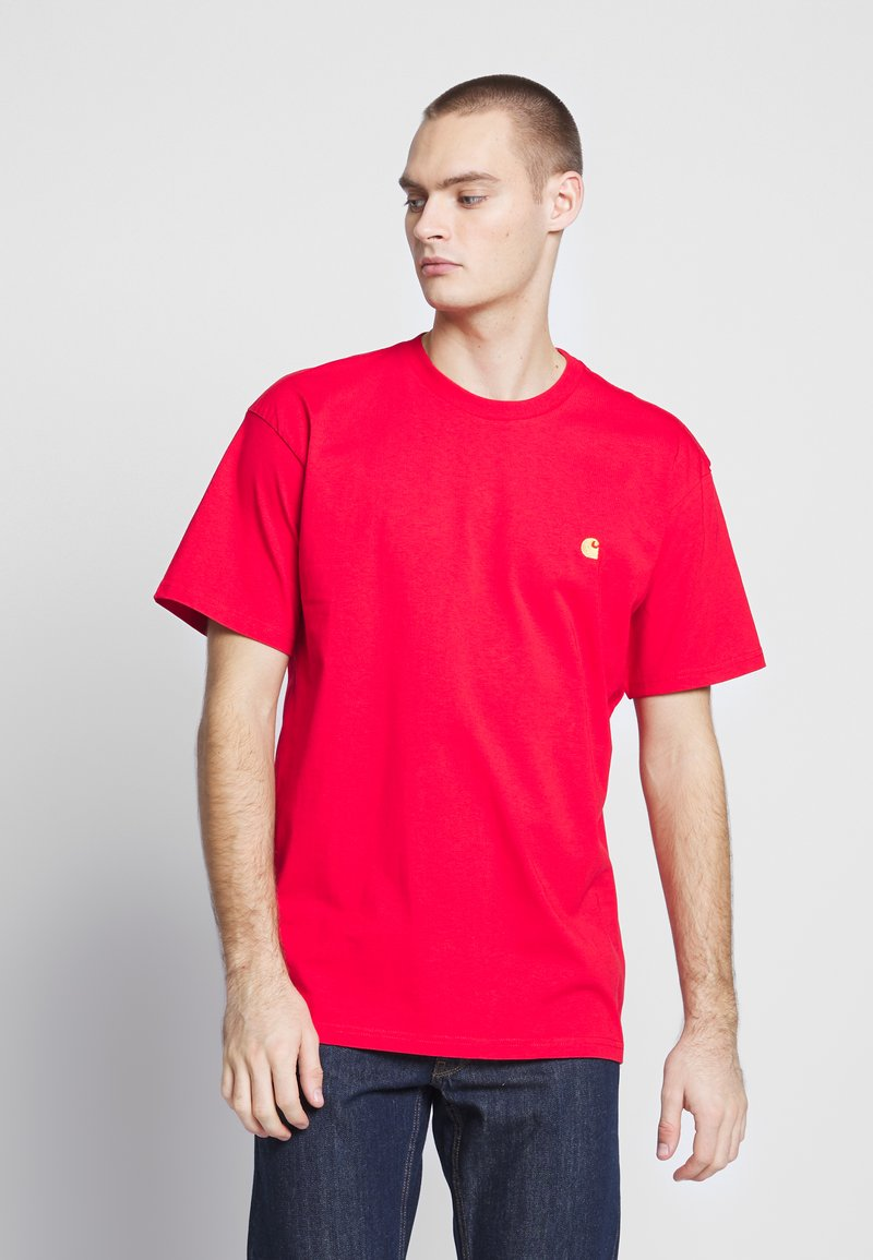Carhartt WIP - CHASE  - T-shirt basique - etna red / gold