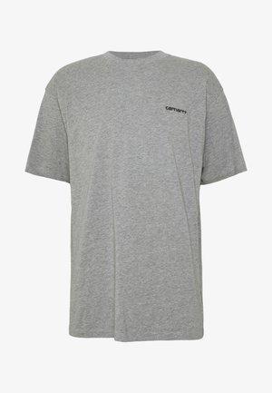 SCRIPT EMBROIDERY - Basic T-shirt - grey heather/black