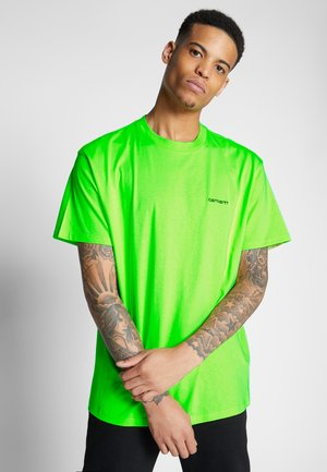 SCRIPT EMBROIDERY - T-shirt - bas - lime/black