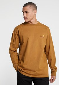 Carhartt WIP - AMERICAN SCRIPT LONGSLEEVE - Pitkähihainen paita - hamilton brown - 0