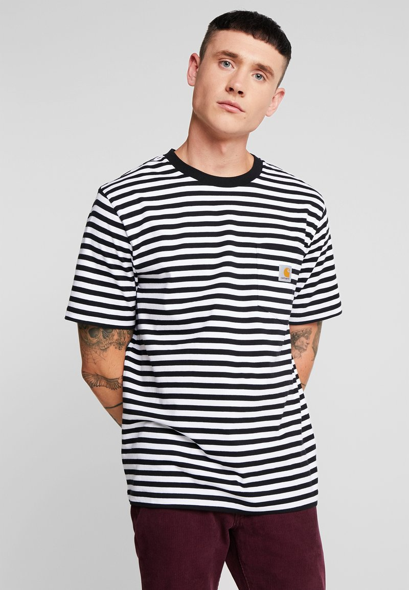 Carhartt WIP - HALDON POCKET - T-shirt med print - black/white