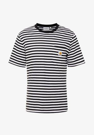 HALDON POCKET - Print T-shirt - black/white