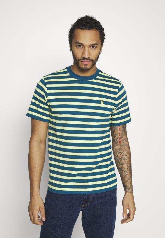 OAKLAND  - T-shirt z nadrukiem - oakland stripe, moody blue / lime