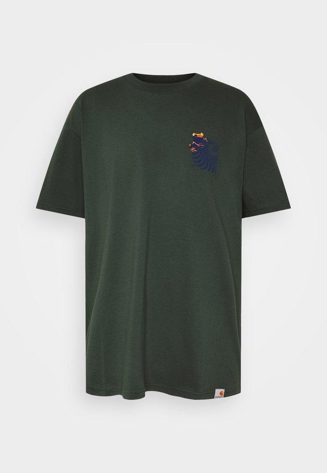 SOCIETY - Print T-shirt - dark teal