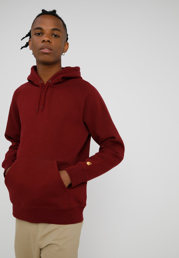 Carhartt WIP - HOODED CHASE  - Kapuzenpullover - mulberry/gold