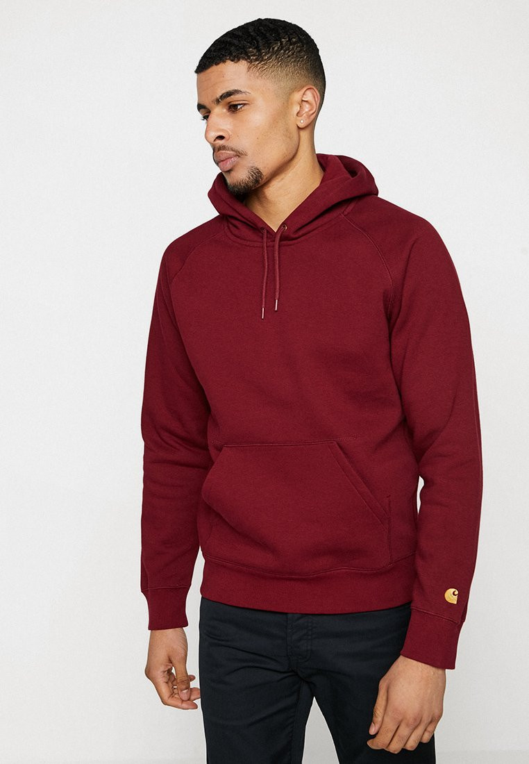 Carhartt WIP - HOODED CHASE  - Mikina s kapucí - cranberry/gold
