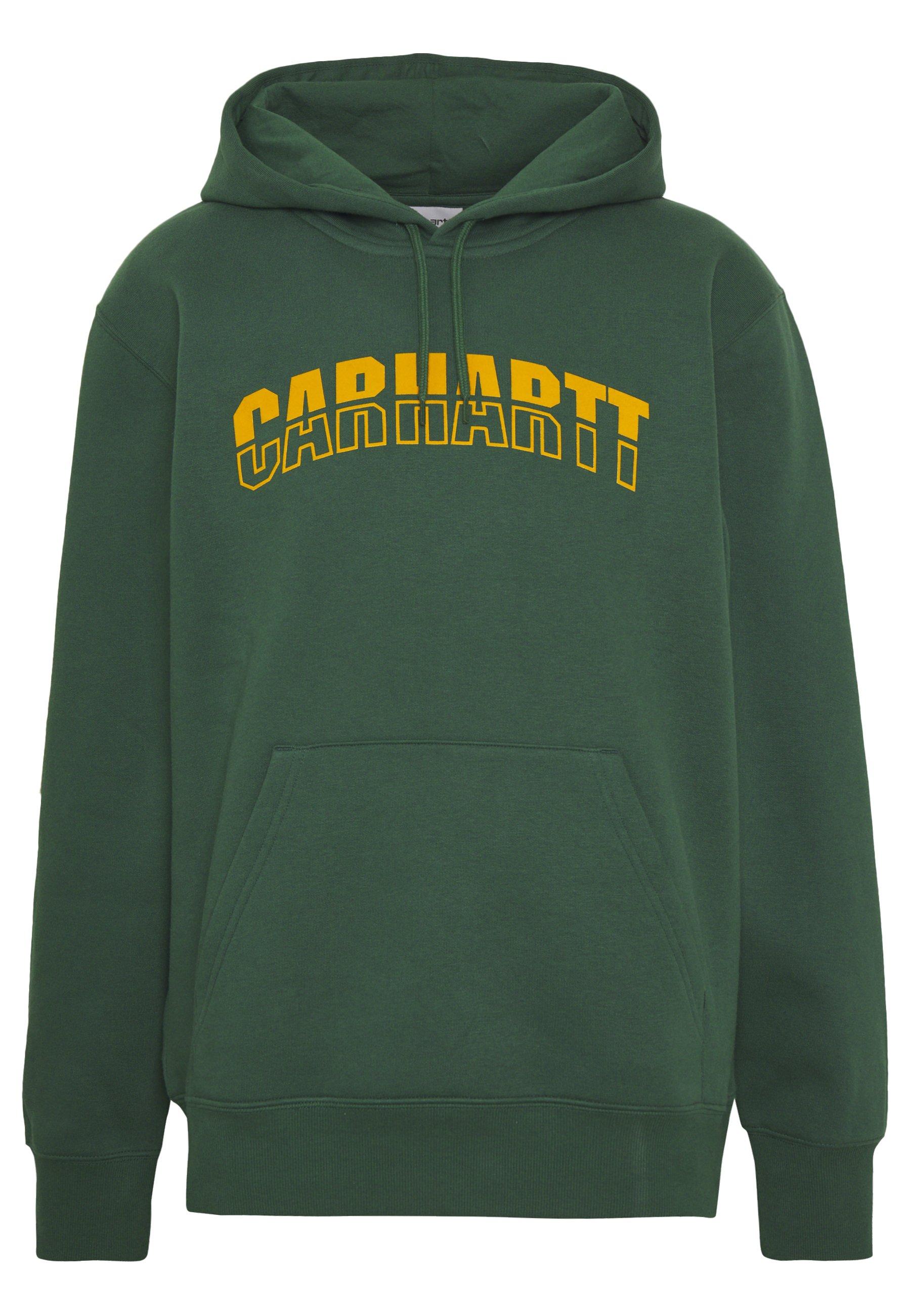 Carhartt WIP HOODED DISTRICT - Bluza z kapturem - dark green/yellow