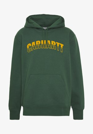 HOODED DISTRICT - Hoodie - dark green/yellow