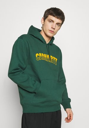 HOODED DISTRICT - Sweat à capuche - dark green/yellow