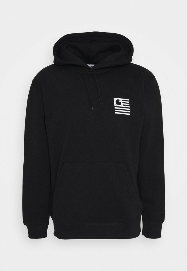 HOODED WAVING STATE FLAG - Jersey con capucha - black/white