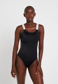 Calvin Klein Swimwear - LOGO OPEN CUT ONE PIECE - Maillot de bain - black - 1