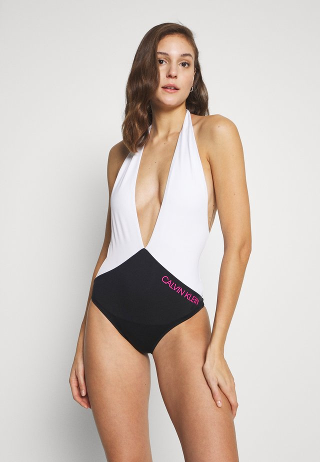 BLOCKING PLUNGE FRONT ONE PIECE - Swimsuit - black