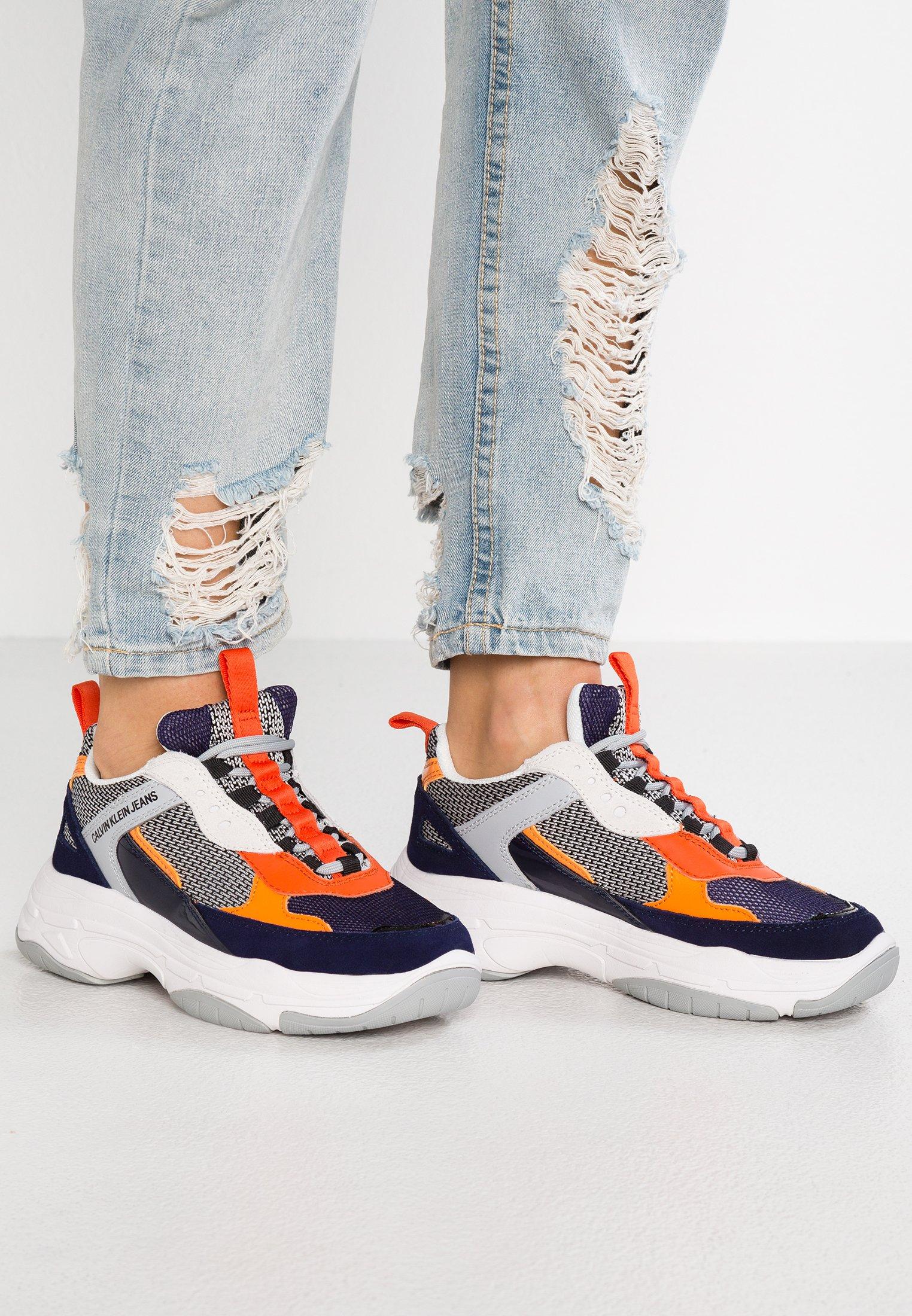 Calvin Klein Jeans MAYA - Sneakers - navy/light grey/orange