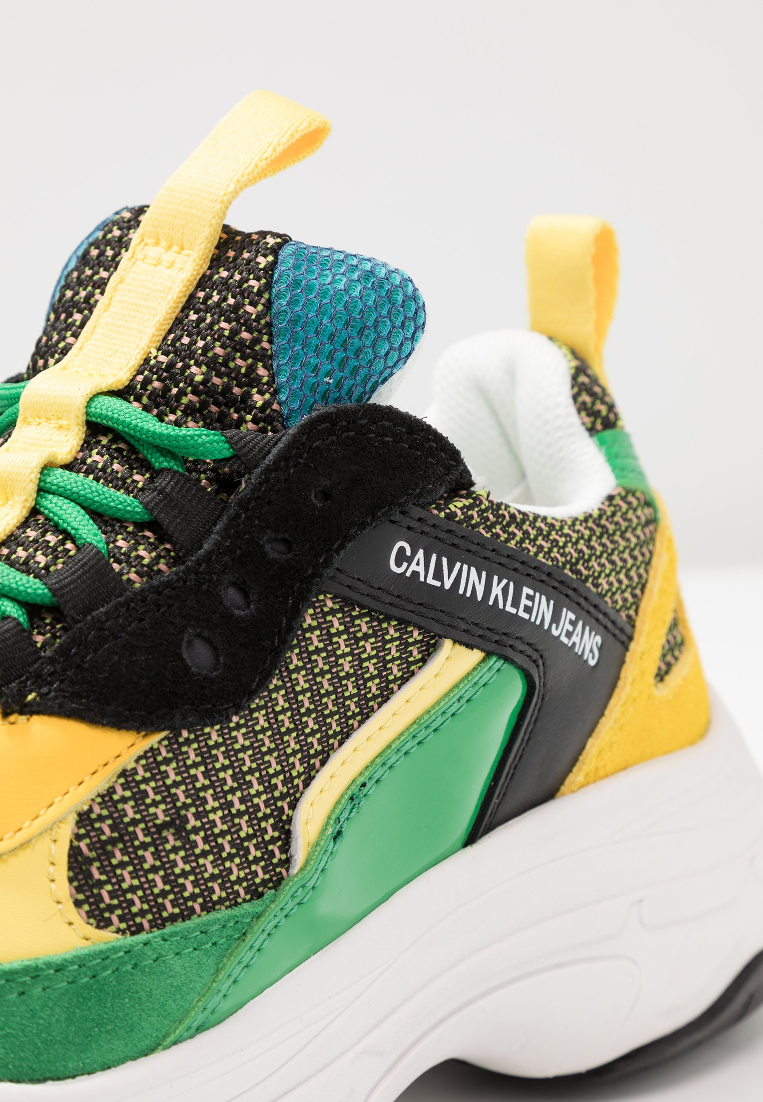 Calvin Klein Jeans MAYA - Sneakers basse - black/green/lemon