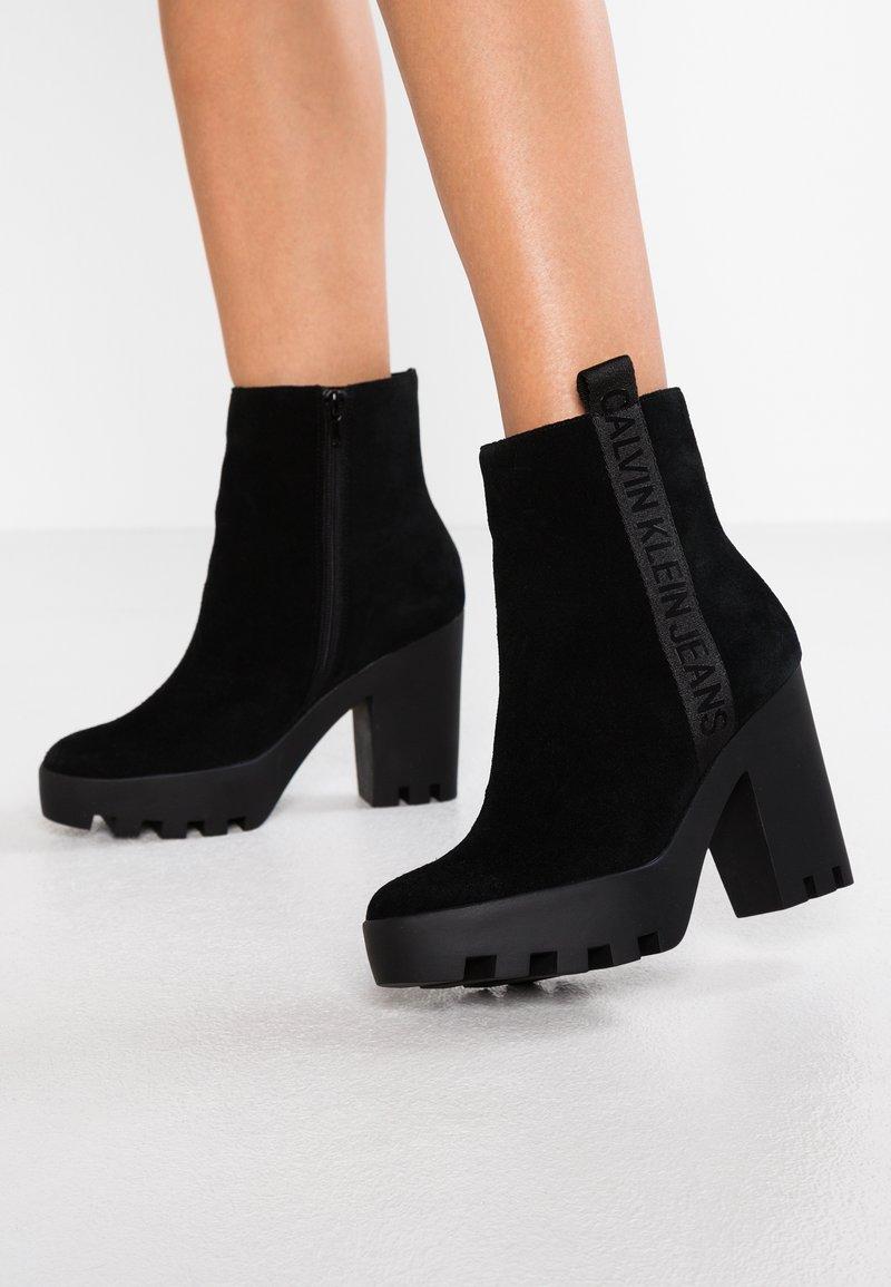 Calvin Klein Jeans - SERINA - Enkellaarsjes met hoge hak - black