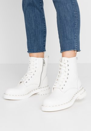 NANNIE - Lace-up ankle boots - bright white