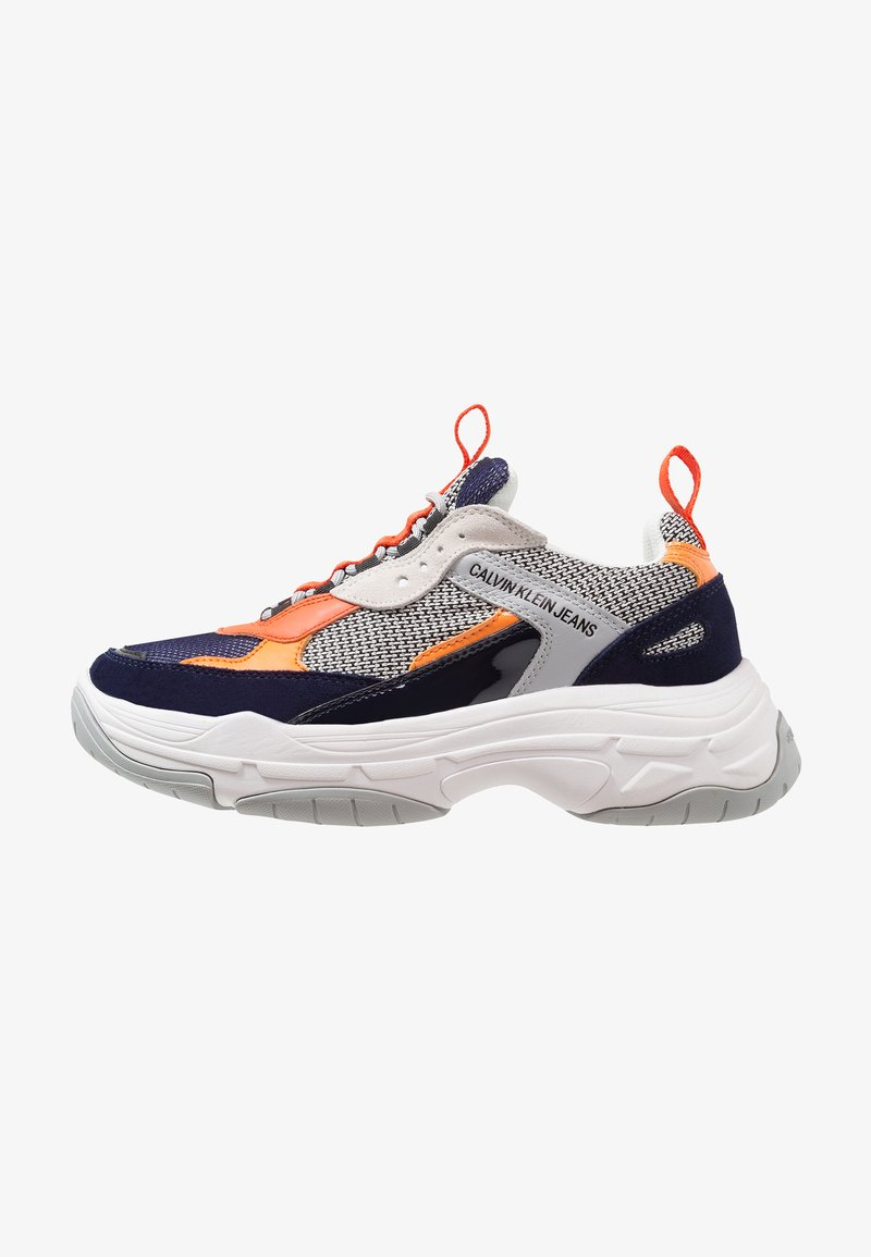 Calvin Klein Jeans - MARVIN - Trainers - navy/light grey/orange