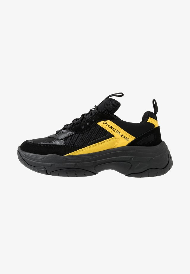 MARVIN - Baskets basses - black/cyber yellow