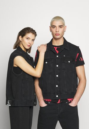 CK ONE OVERSIZED DENIM VEST - Waistcoat - black stone