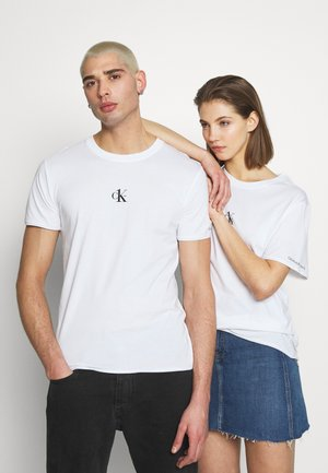 CK ONE ONE SMALL LOGO REGULAR TEE - T-Shirt print - bright white