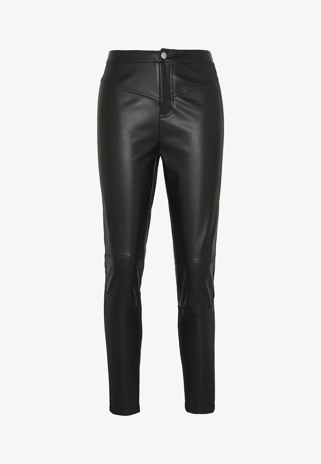 STRETCH FAUX LEATHER LEGGING - Broek - black
