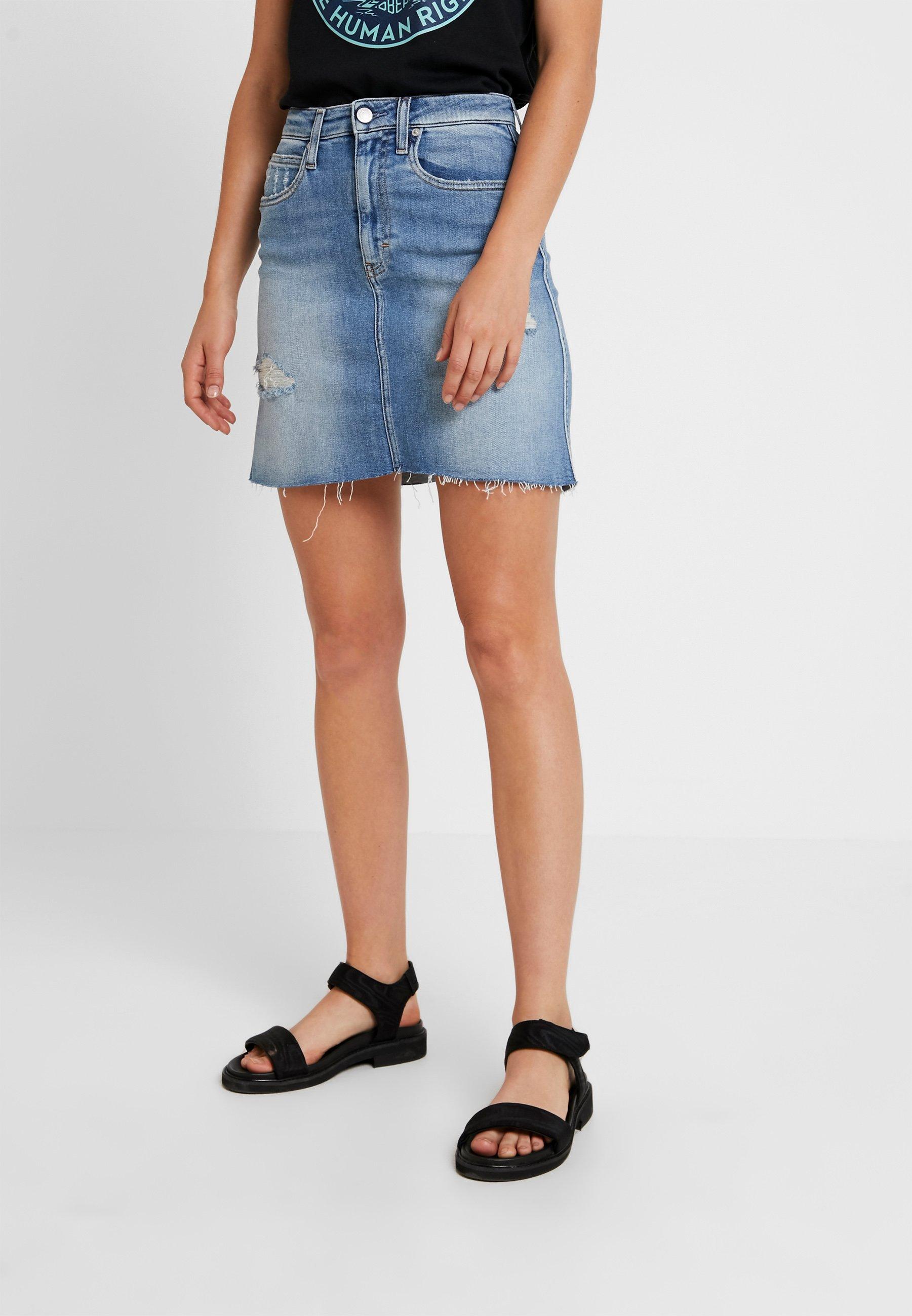 Blue Calvin Hr Klein Mini En Jeans SkirtJupe Destroyed Jean Honcho HE29ID