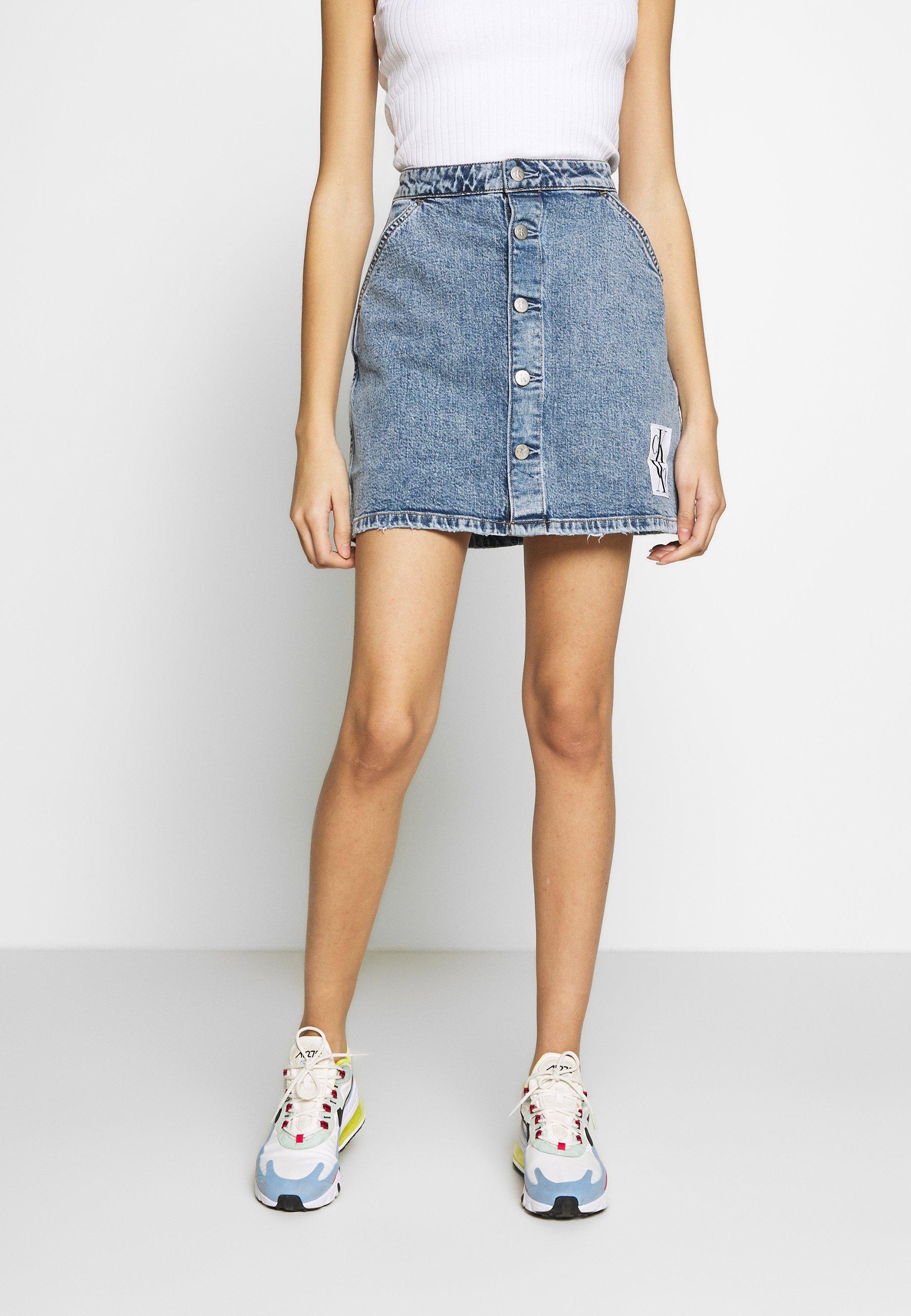 Calvin Klein Jeans Button Down Utility Skirt - Jeansrok Mid Blue WPZLkmgq