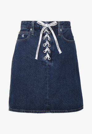 HIGH RISE SKIRT - Denimová sukně - dark blue stone lace
