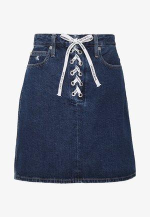 HIGH RISE SKIRT - Jeansrok - dark blue stone lace
