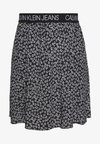 FLORAL SKIRT WITH LOGO TAPE - A-line skirt - black/white
