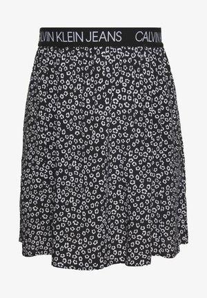 FLORAL SKIRT WITH LOGO TAPE - Áčková sukně - black/white