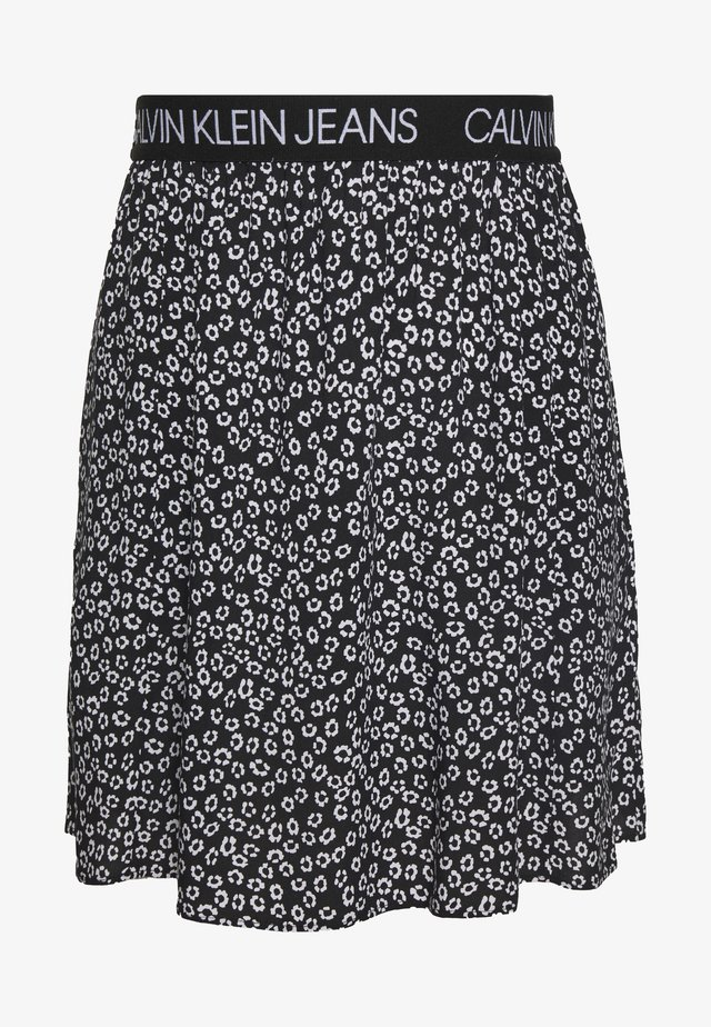 FLORAL SKIRT WITH LOGO TAPE - A-lijn rok - black/white