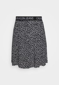Calvin Klein Jeans - FLORAL SKIRT WITH LOGO TAPE - A-line skirt - black/white - 3