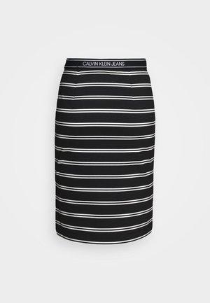 LOGO STRIPE MILANO SKIRT - Pouzdrová sukně - black/creamy white