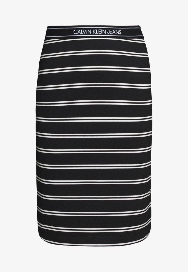 LOGO STRIPE MILANO SKIRT - Jupe crayon - black/creamy white