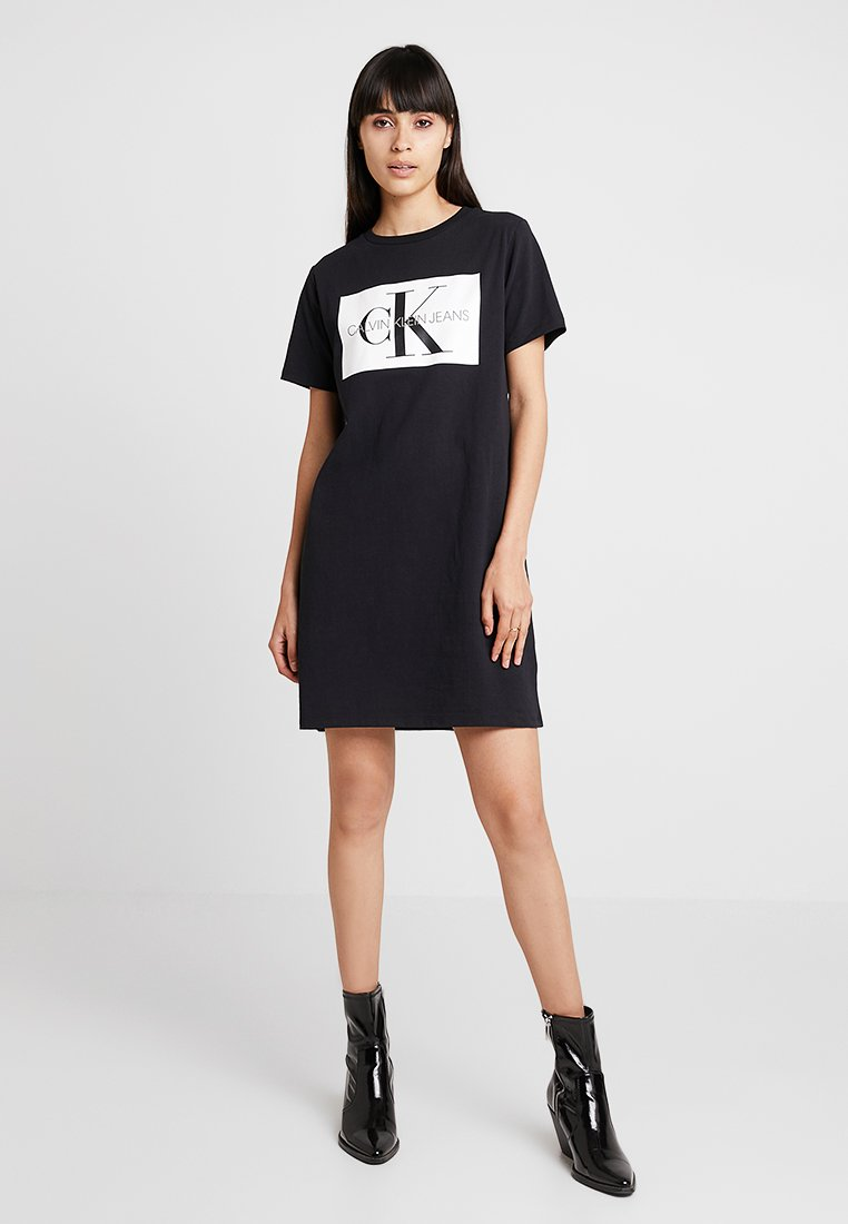 Calvin Klein Jeans - ICONIC MONOGRAM BOX DRESS - Jersey dress - black